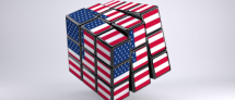 Rubik's Cube in American flag colors on a white background