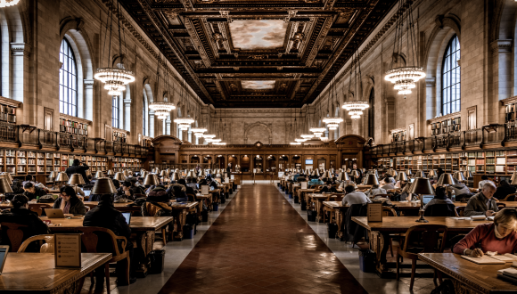 Stephen A. Schwarzman Building, New York City, USA - Library, people sitting at tables